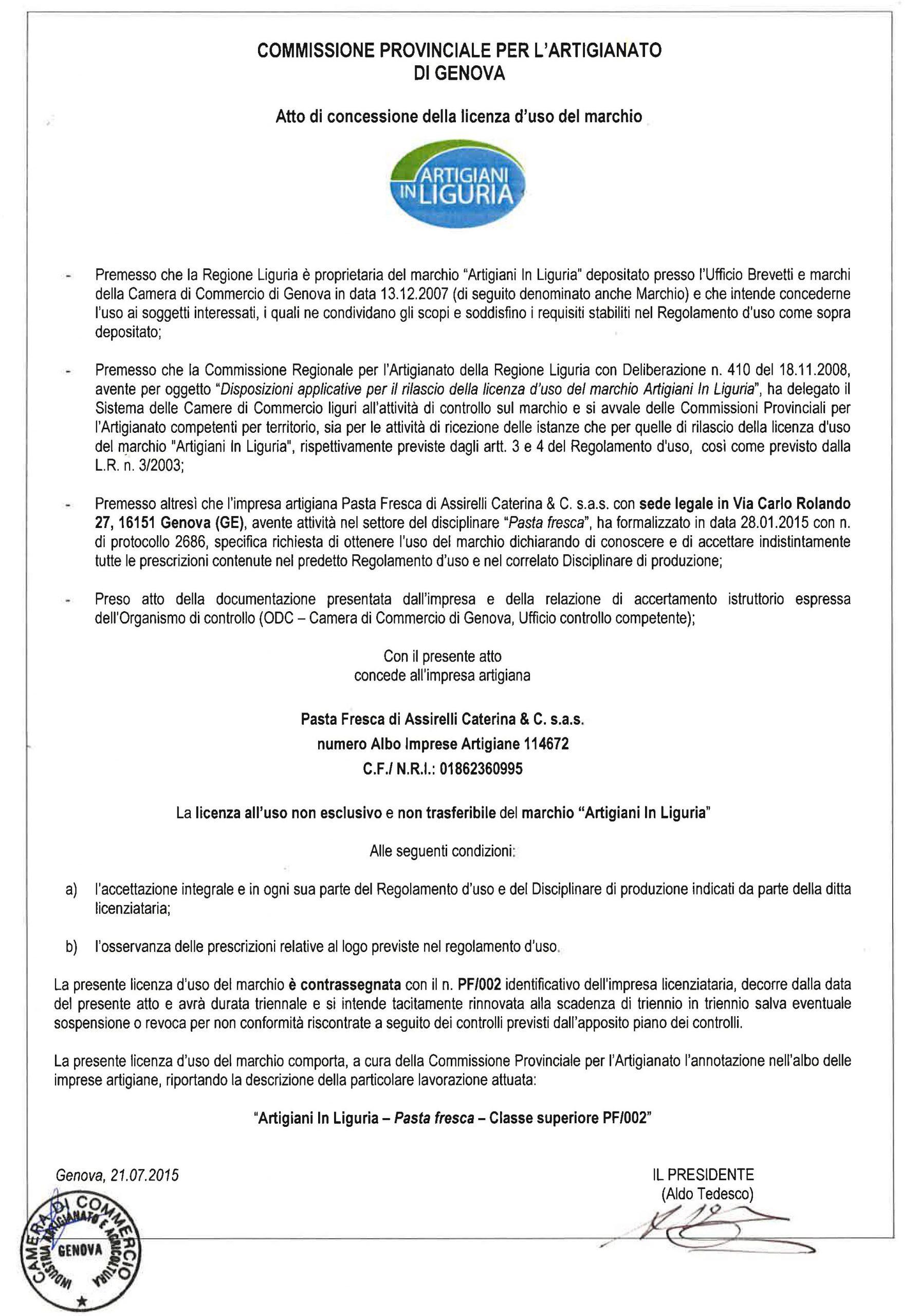 Licenza d'uso marchio Artigiani In Liguria Assirelli